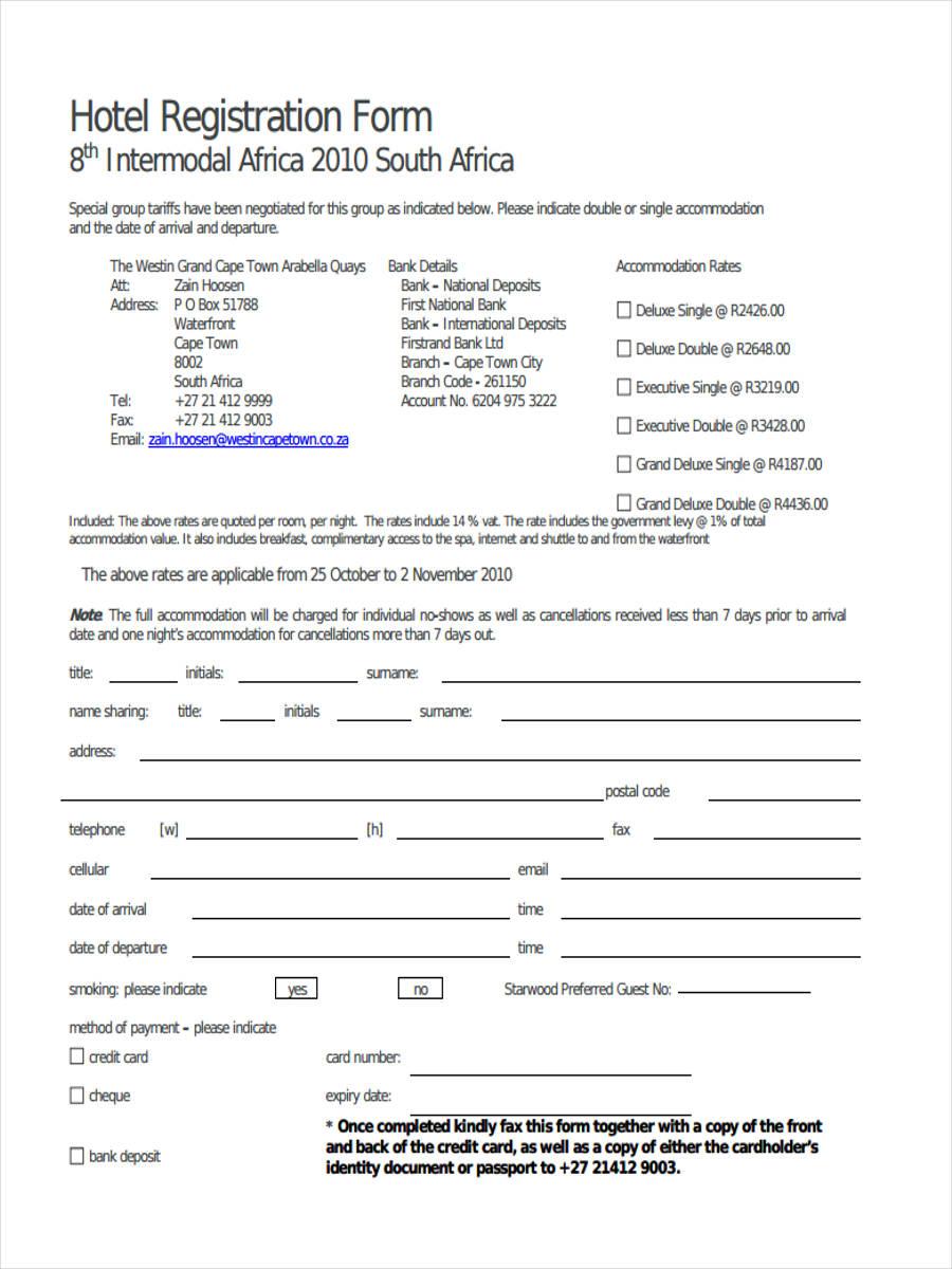 hotel accommodation registration