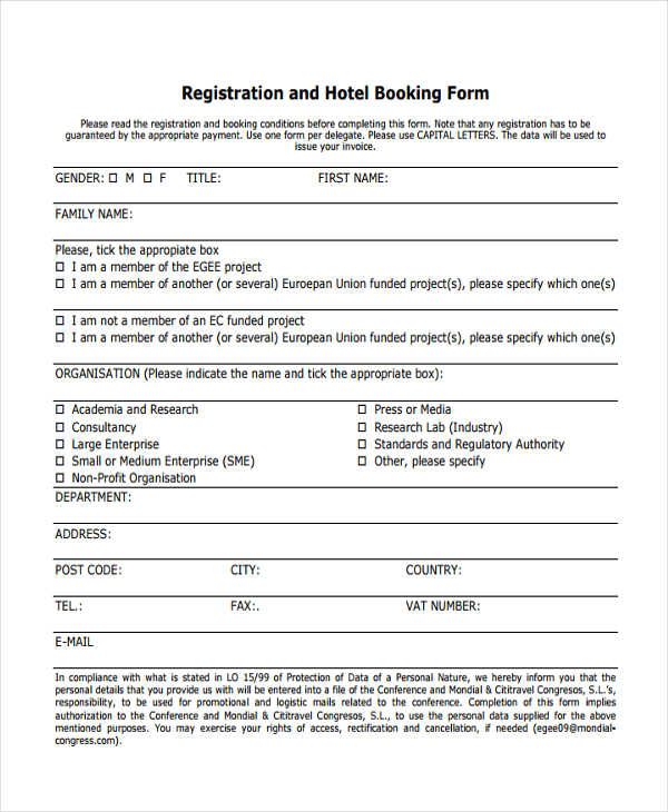 Hotel-Booking-Registration Sample Hotel Booking Order Form on for printing company, office supply, contractor change, template wholesale clothing,