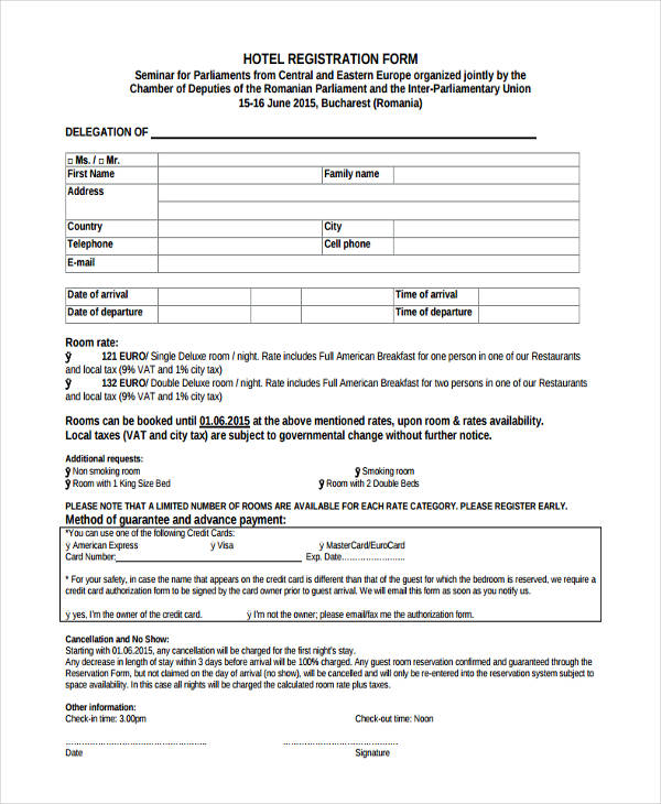 18 hotel check in form templates hotel check in registration1 thecheapjerseys Images