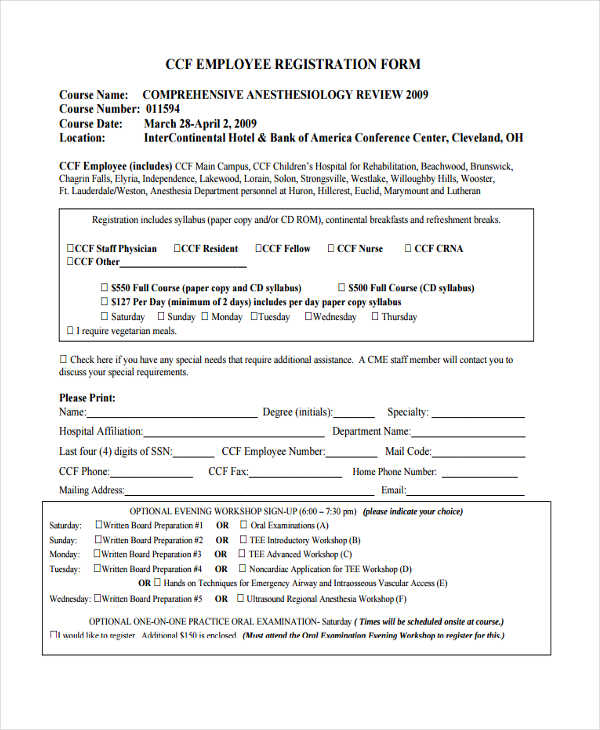 11 Hotel Registration Form Samples – Employee Registration Form