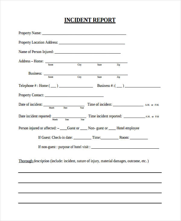 Hotel Incident Report  Guest Register Template