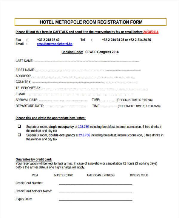 hotel metropole registration