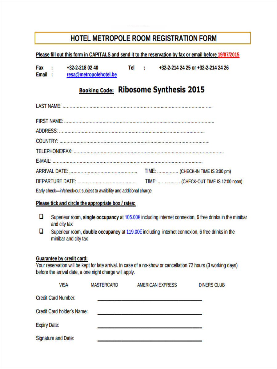free 21  hotel registration form templates