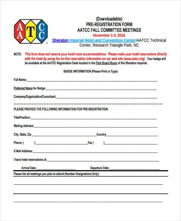hotel pre registration form
