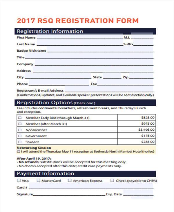 hotel registration information form