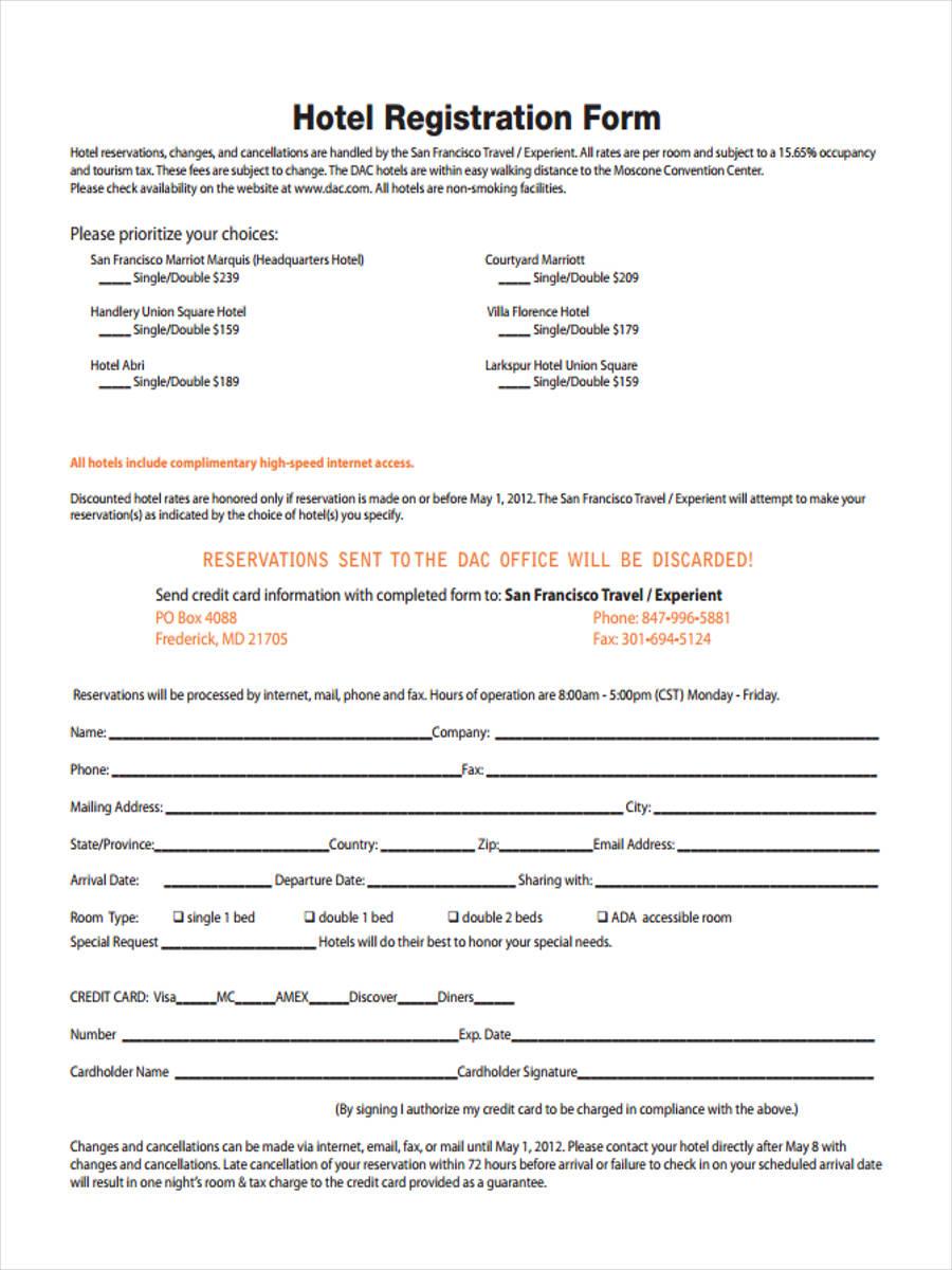 21  hotel registration form templates
