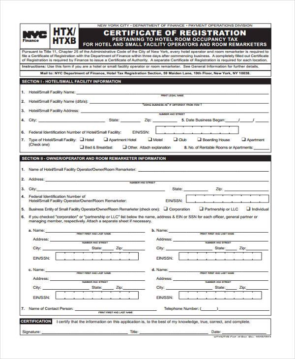 hotel tax certificate of registration
