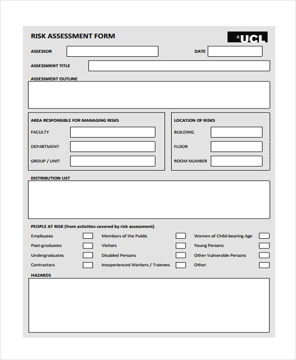 Sample It Risk Assessment Risk Assessment Form Template Qualitative