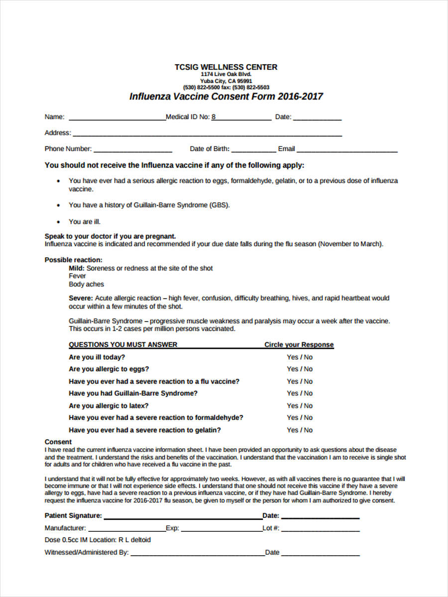 vaccination consent form template 8 vaccine consent forms free sample example format