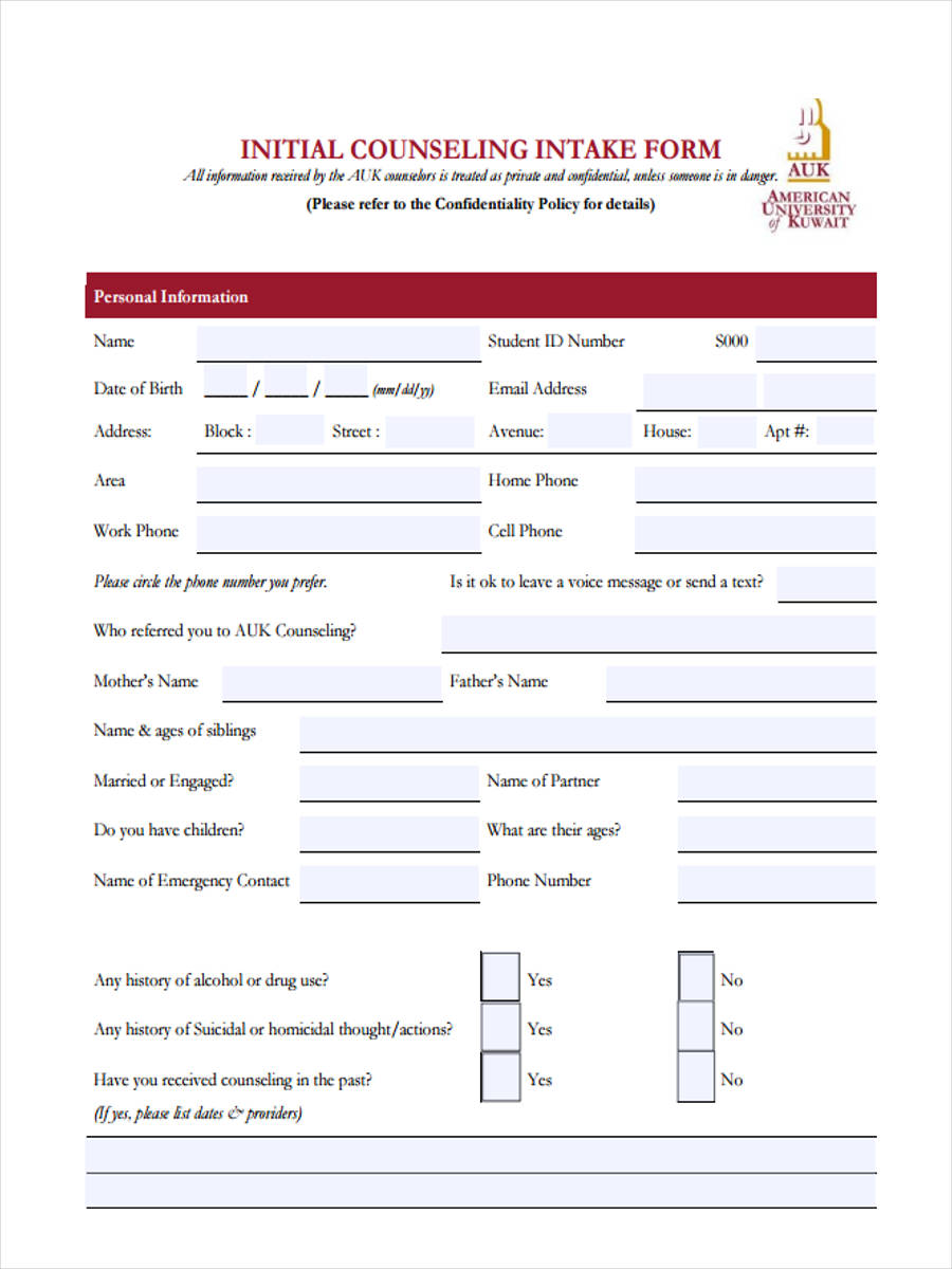 Initial counseling forms 5 free documents in word pdf for Initial counseling template