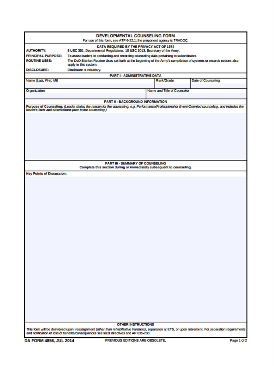 Initial Counseling Forms - 5+ Free Documents in Word, PDF