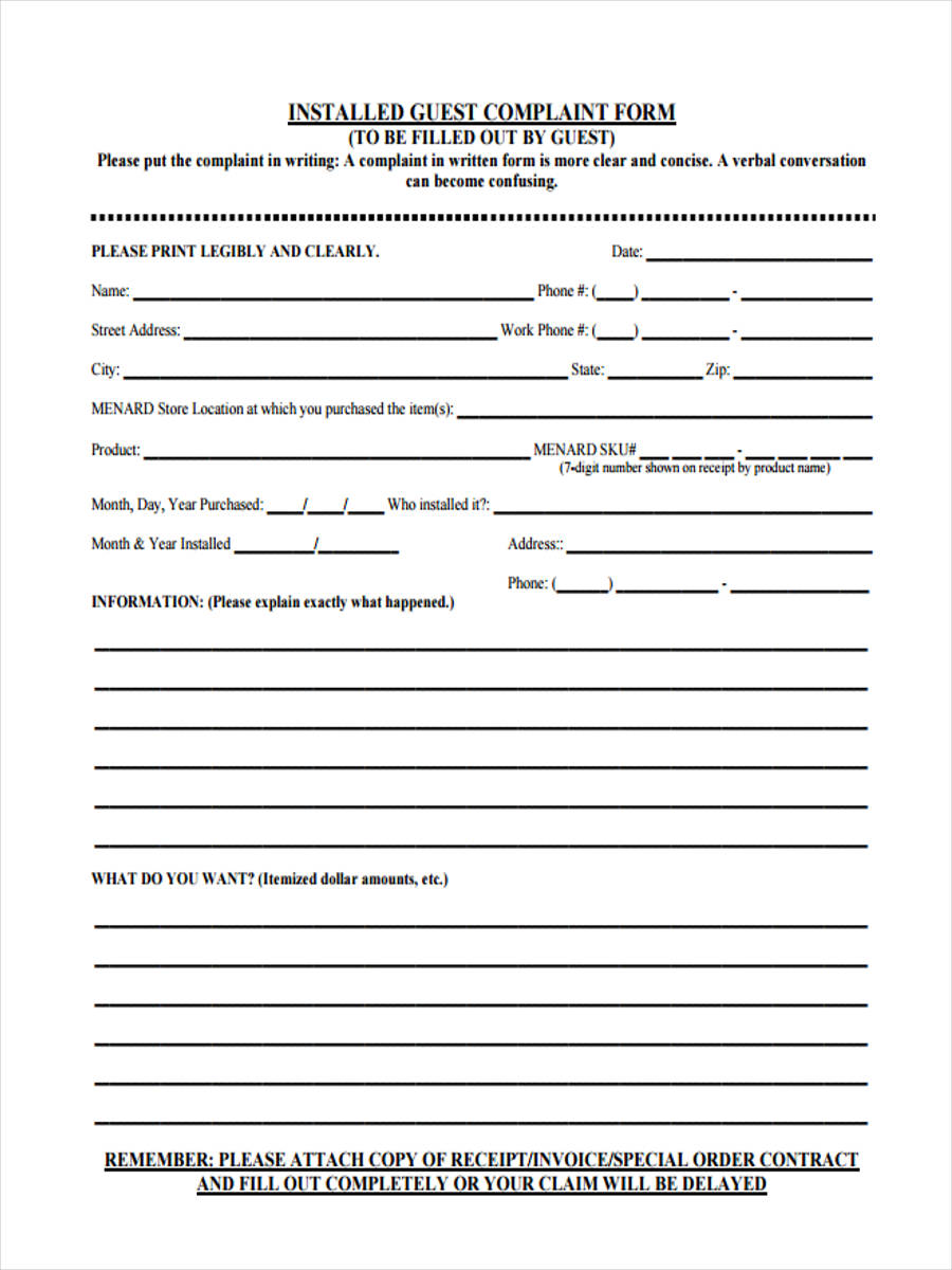 Guest Complaint Form - 6+ Free Documents in PDF