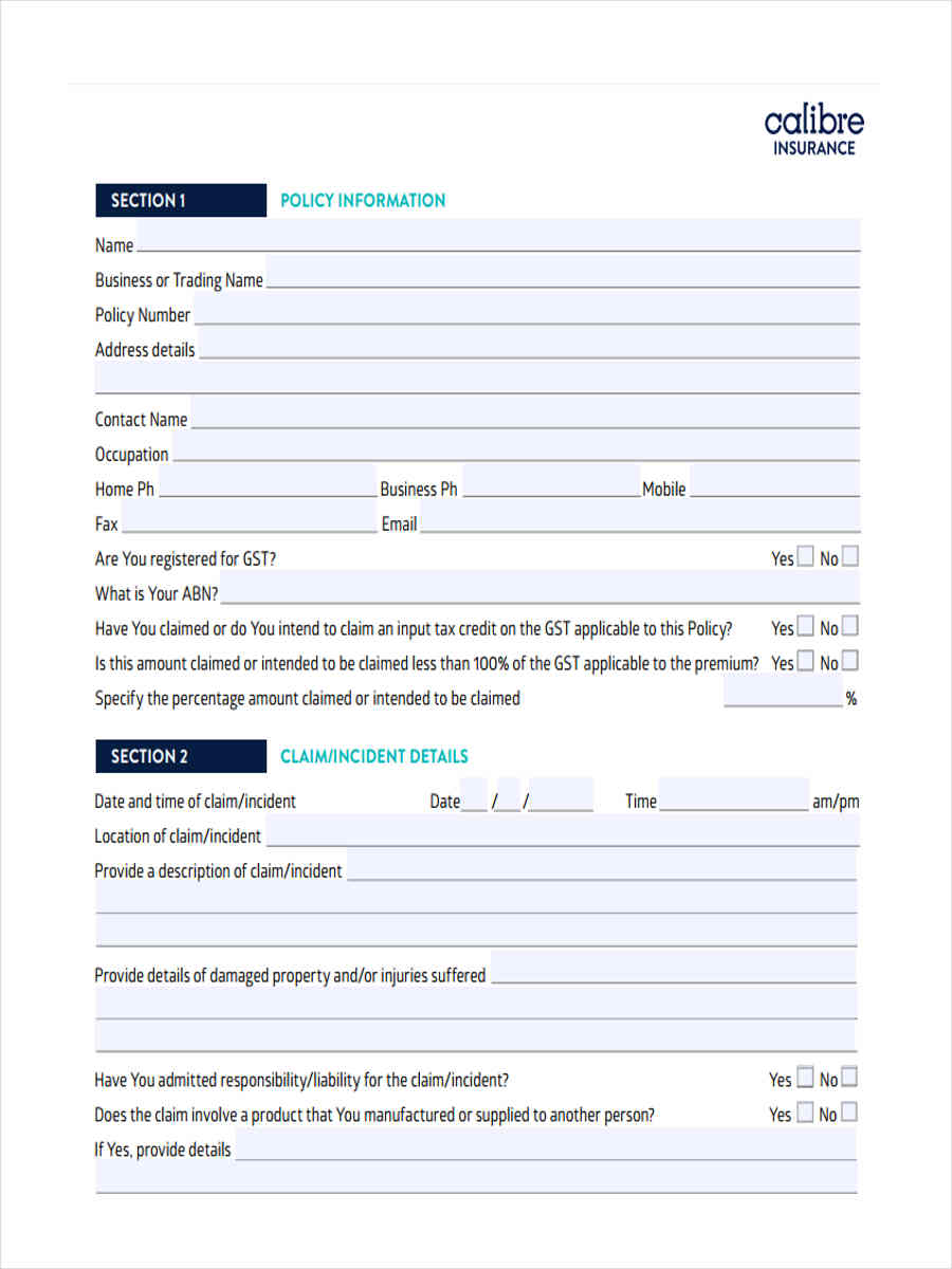 FREE 5+ Liability Claim Forms in MS Word | PDF