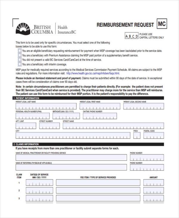 insurance reimbursement form