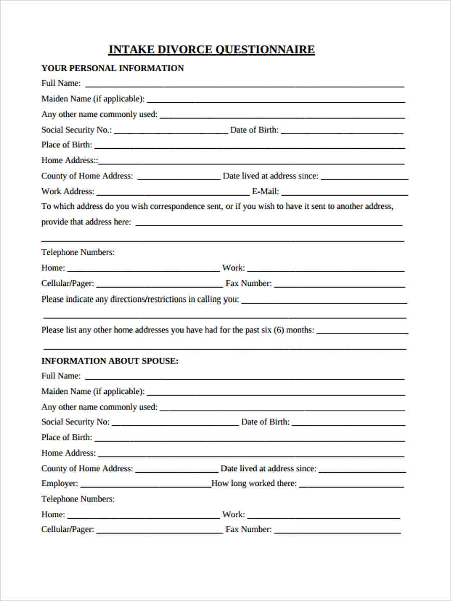 free 41  questionnaire forms in pdf