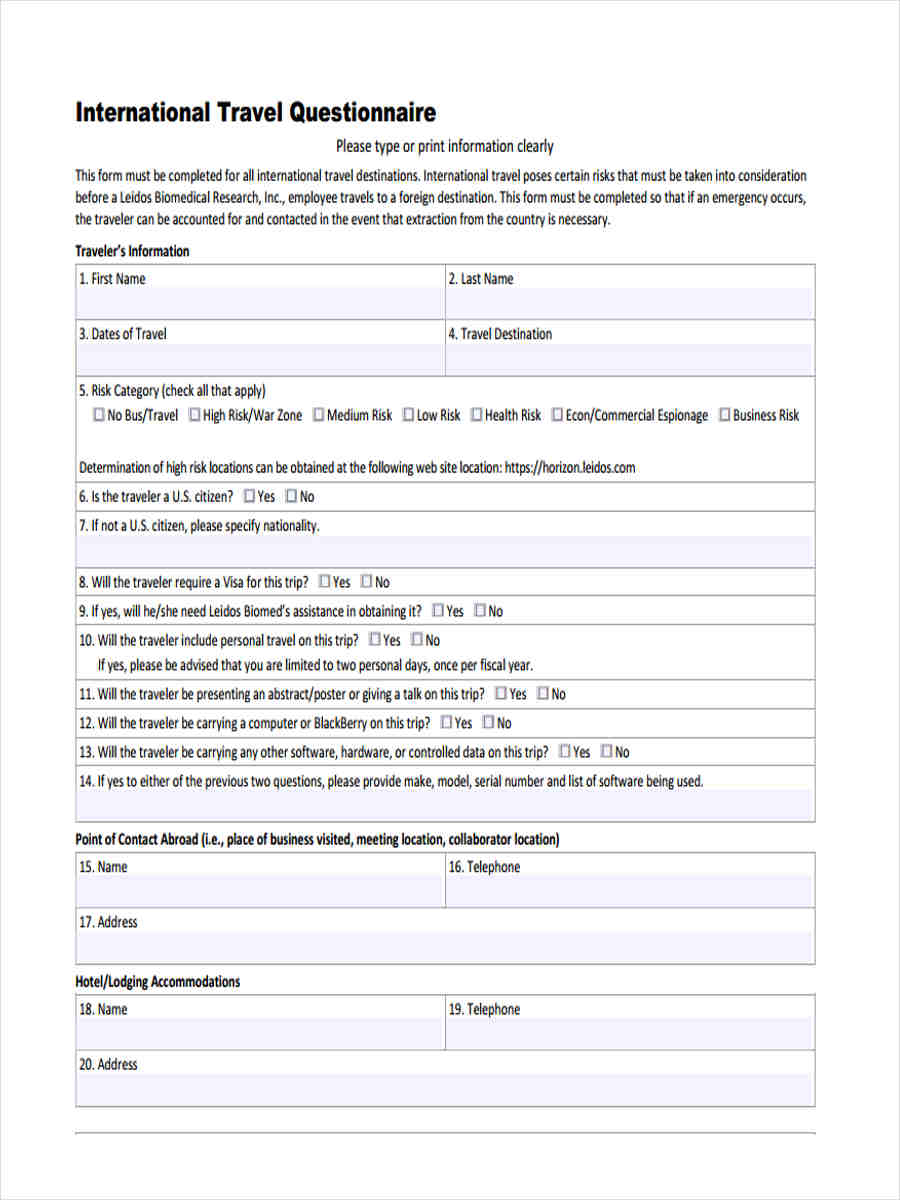 free 7  travel questionnaire forms
