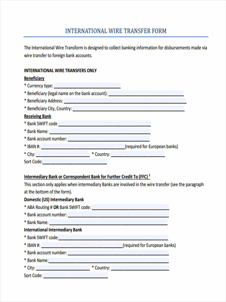 7+ Wire Transfer Forms - Free Sample, Example Format Download