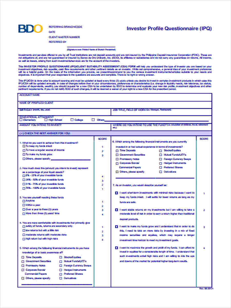 7 investor questionnaire form free documents in word pdf