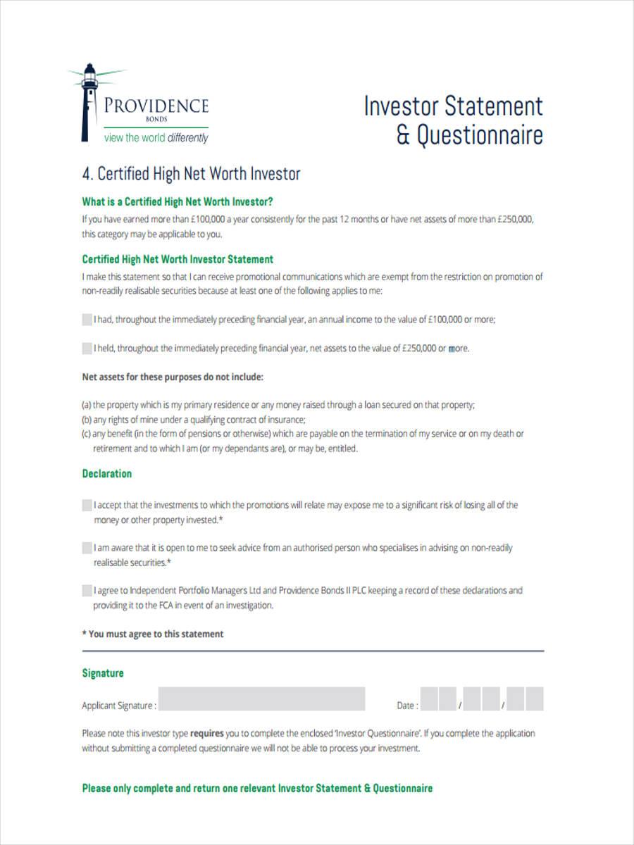 investor statement questionnaire