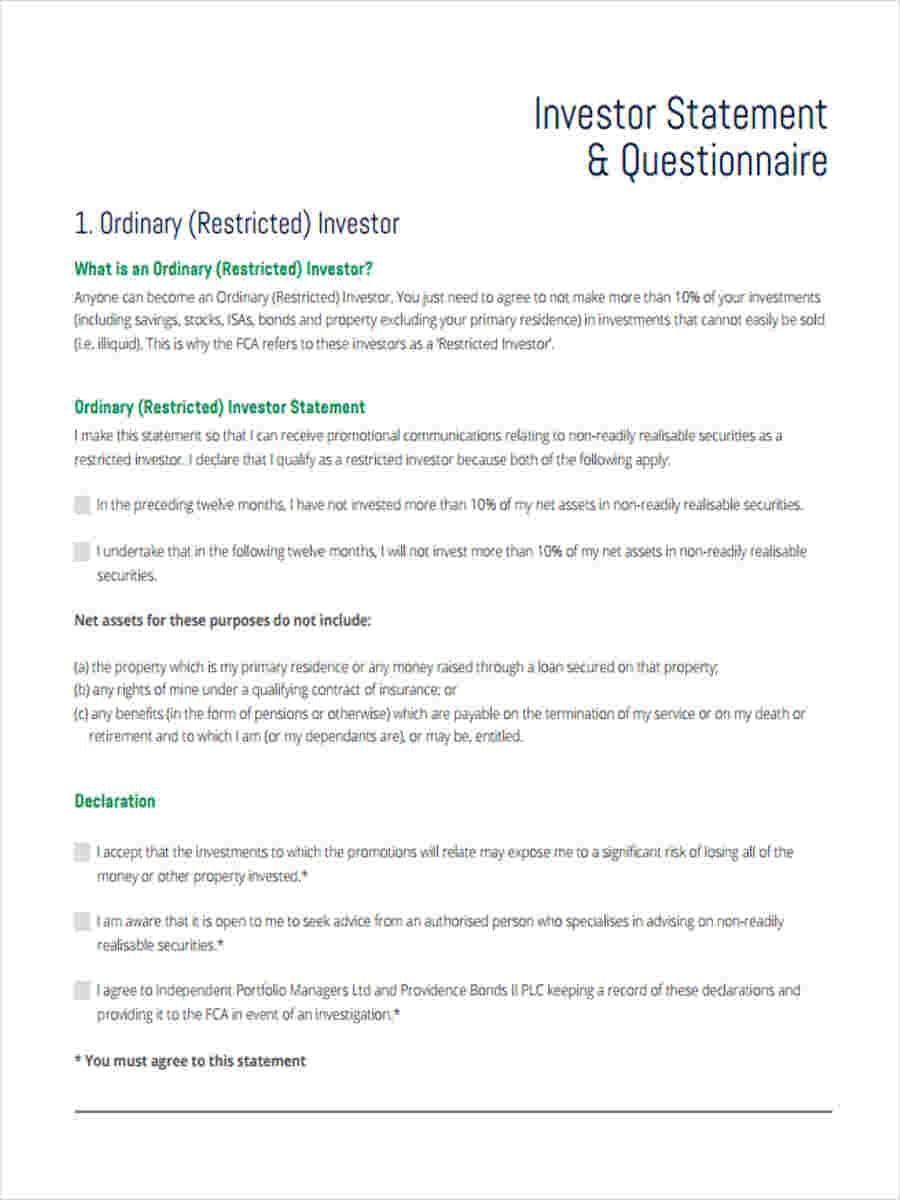 investor statement questionnaire1