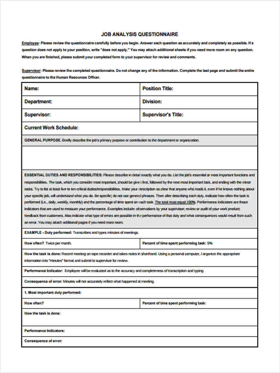 position description questionnaire template - job questionnaire forms 8 free documents in word pdf