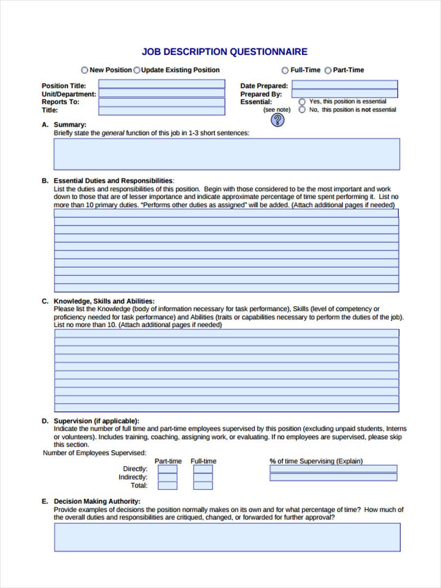 job description questionnaire1