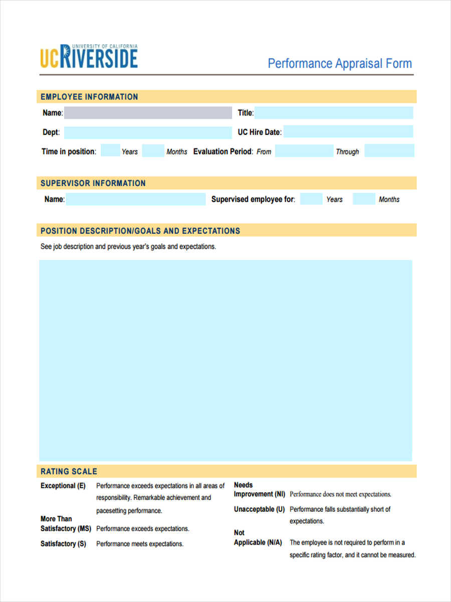 6 Job Appraisal Form Sample Free Sample Example Format Download – Employee Performance Evaluation Form Free Download