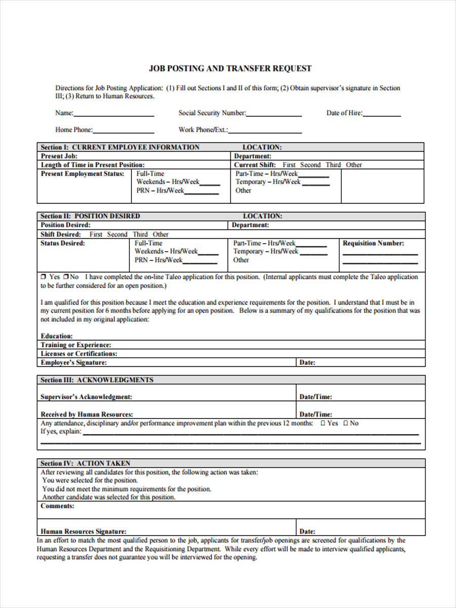 Job-Transfer-Request Sample Internal Job Application Form on feedback form, clip art, format for,