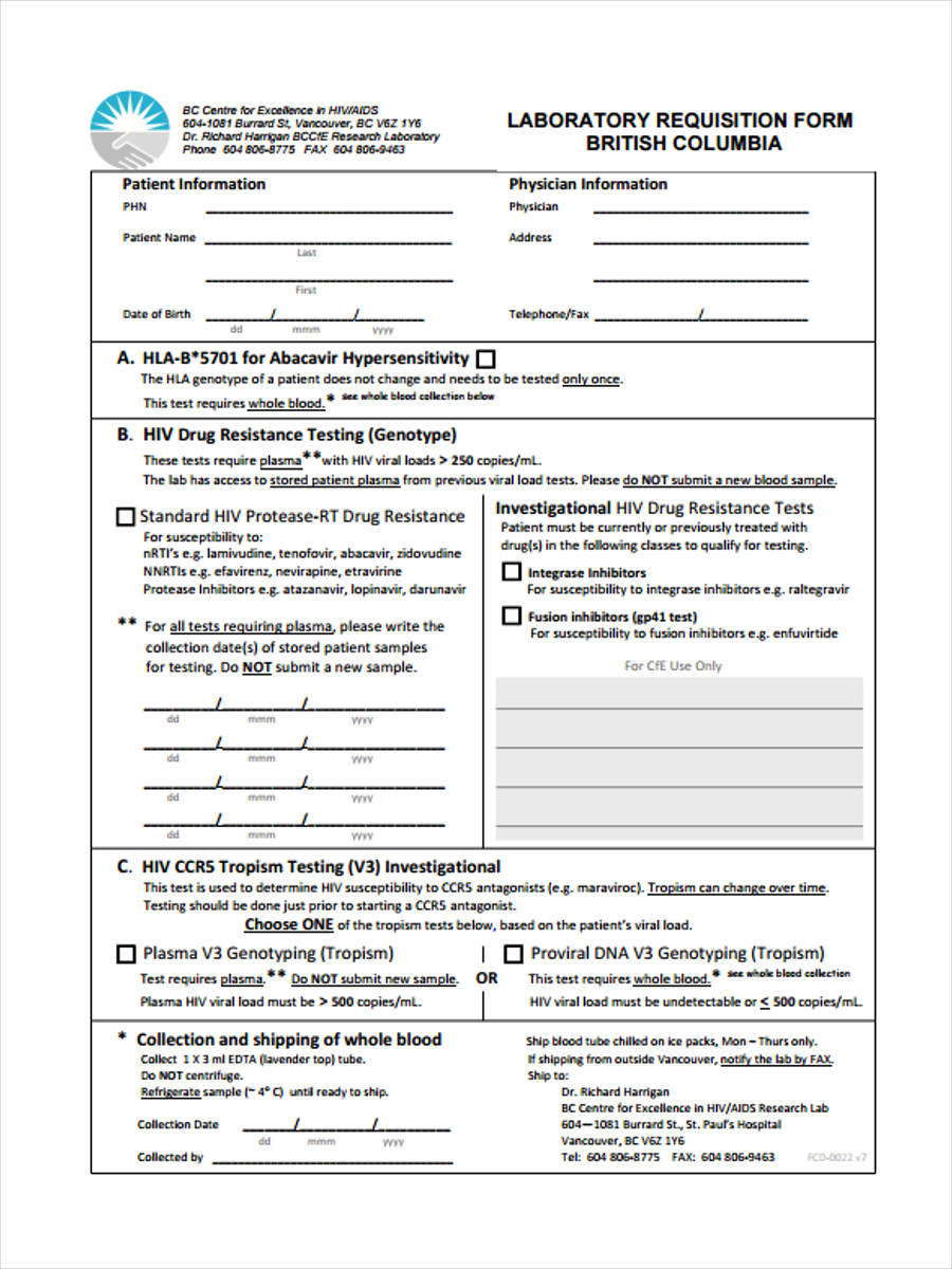 lab requisition sample