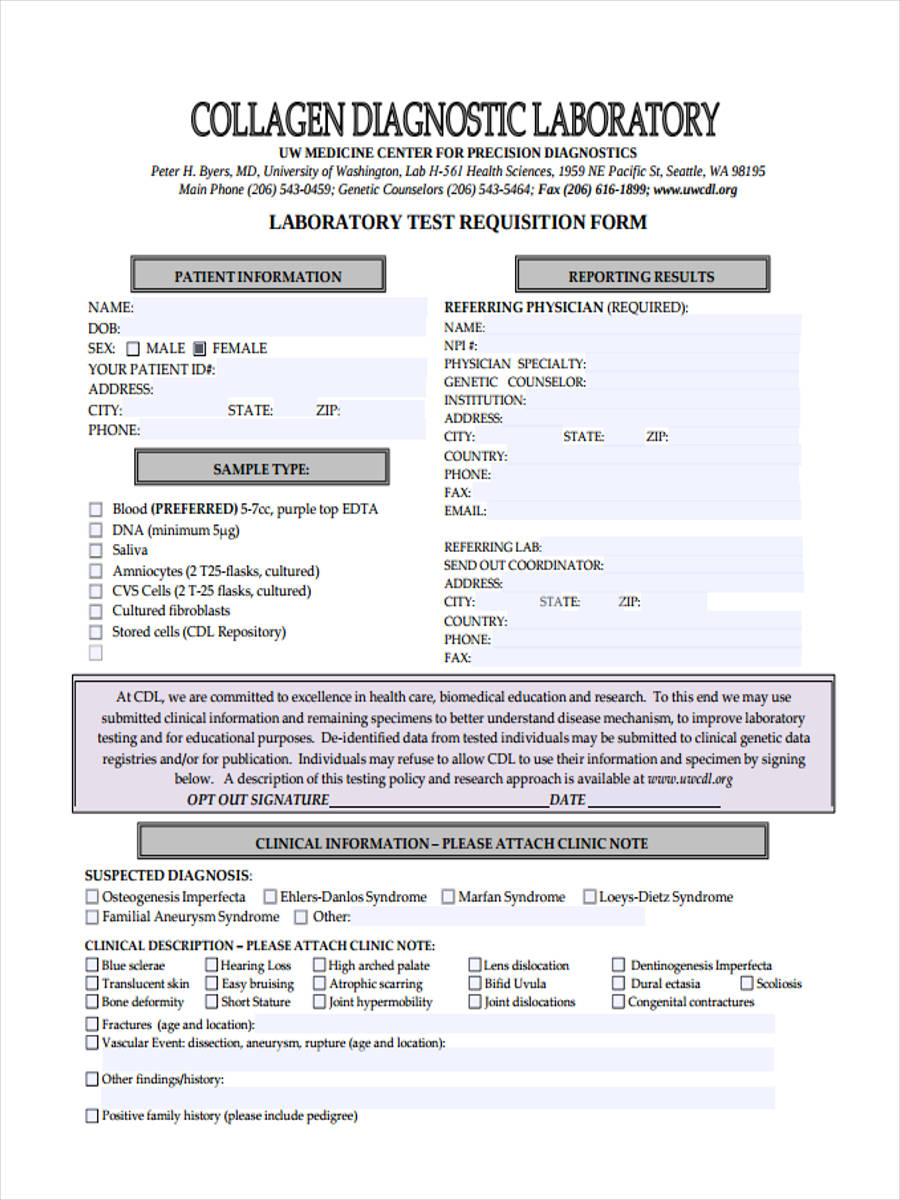 Test Requisition Forms - 8+ Free Documents in PDF