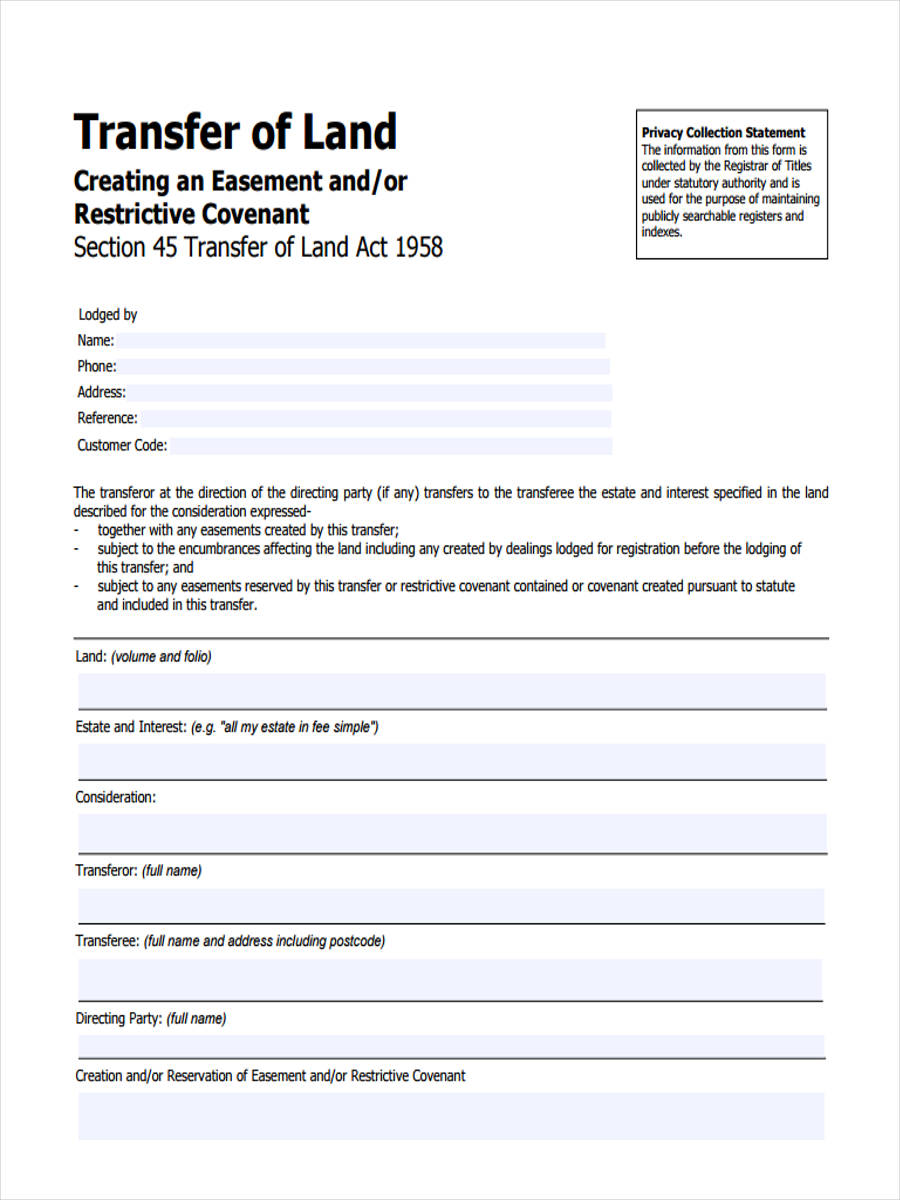 land transfer forms 6 free documents in pdf
