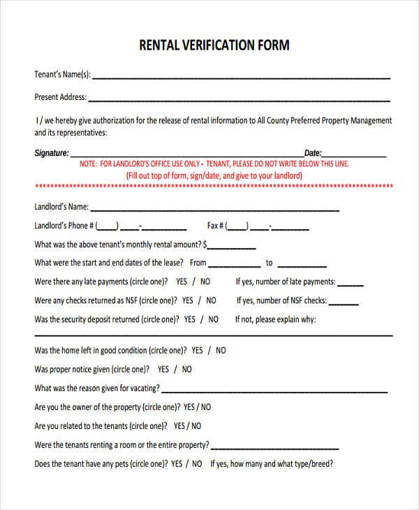 landlord rental verification