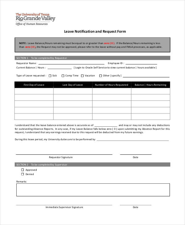 Leave Request Form Sample  Free Sample Example Format Download