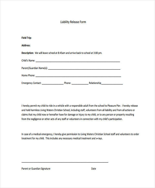10 Printable Liability Waiver Form Samples Free Sample Example – Free Liability Release Form