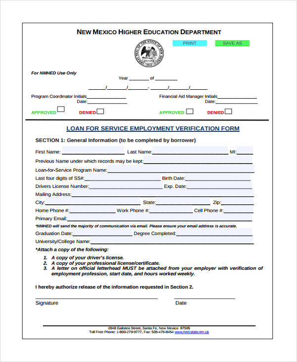 loan for service employment