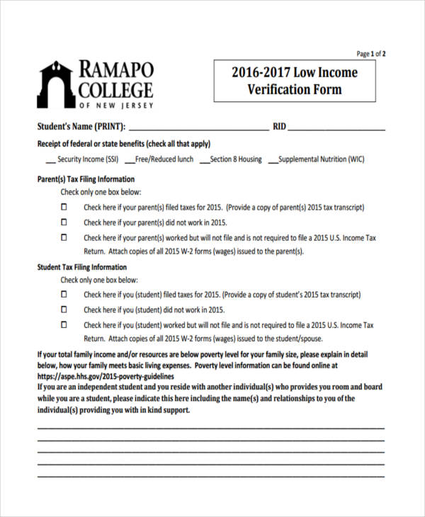 11+ Income Verification Form Samples - Free Sample, Example Format