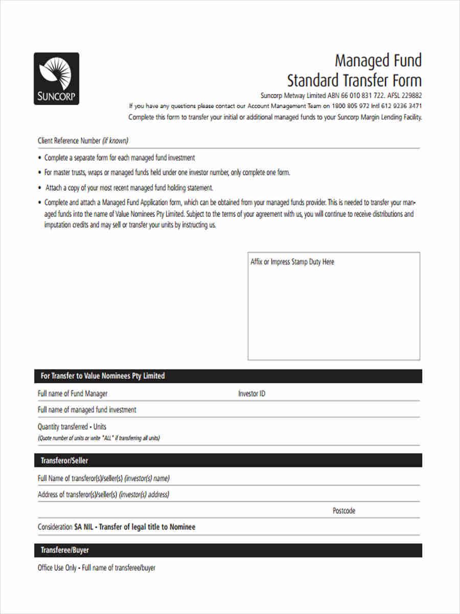managed fund standard form