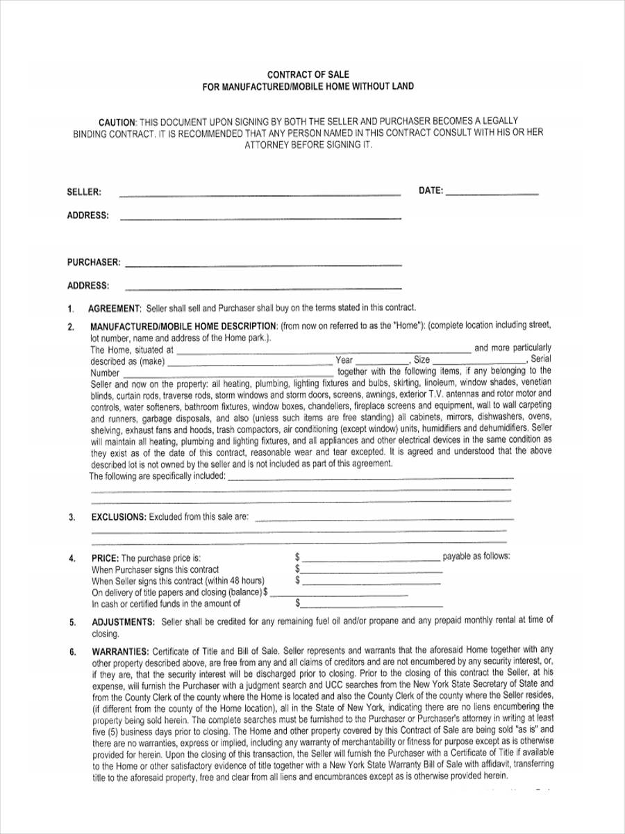 purchase agreement template for mobile home  5  Mobile Home Bill of Sale Sample - Free Sample, Example Format ...
