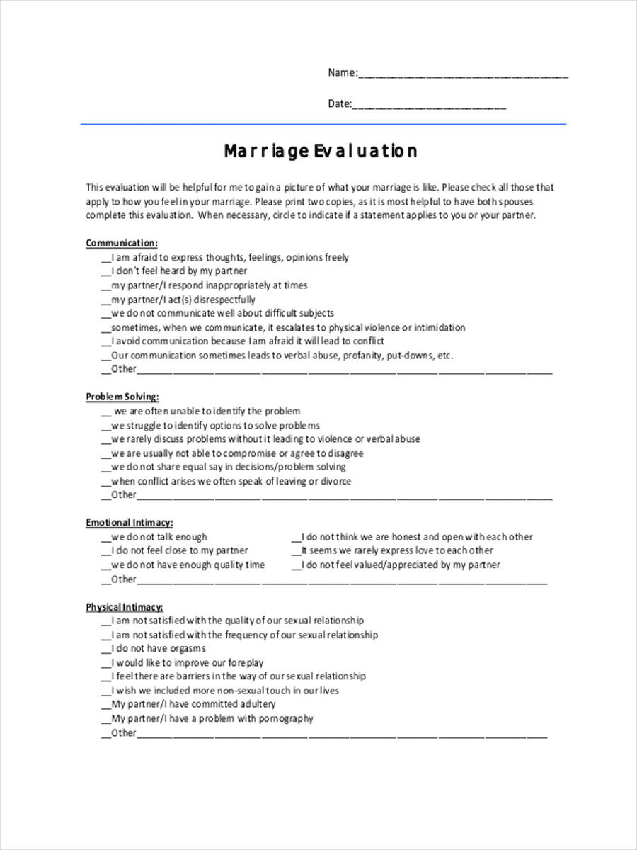 marriage evaluation form