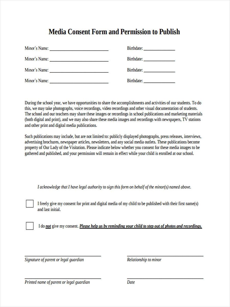 8+ Media Consent Form Samples - Free Sample, Example Format Download