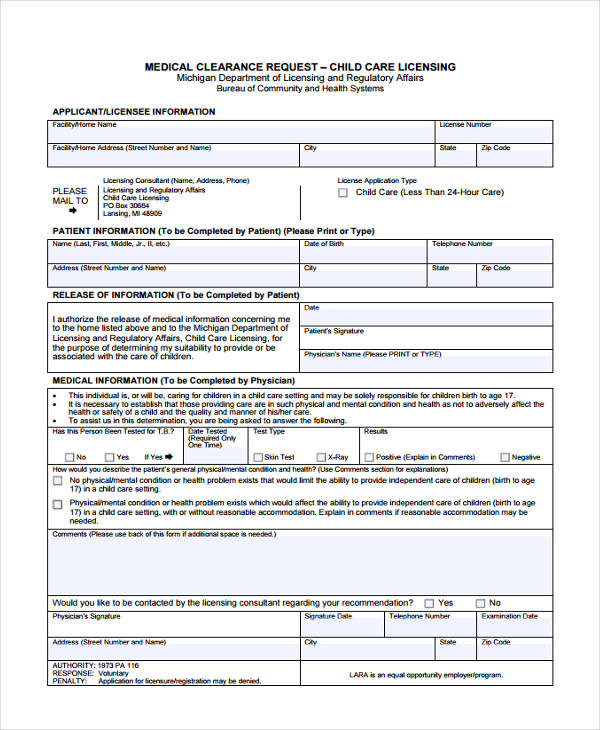 Sample Clearance Forms