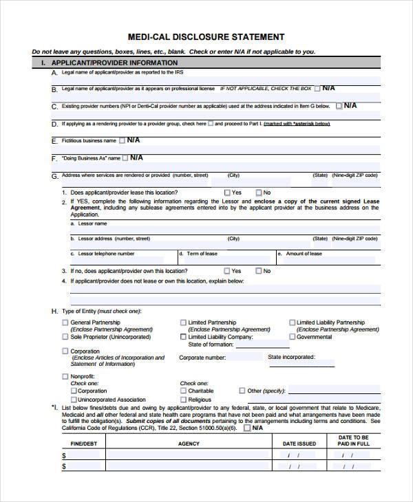 medical disclosure statement