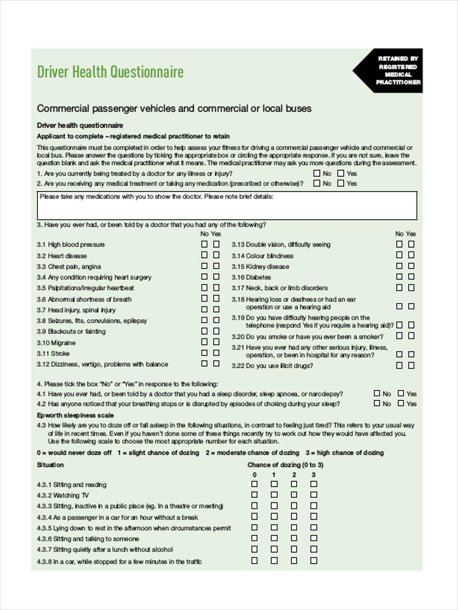medical driver questionnaire