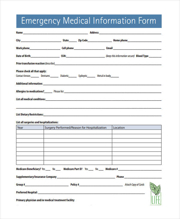 10+ Emergency Information Forms - Free Sample, Example Format Download