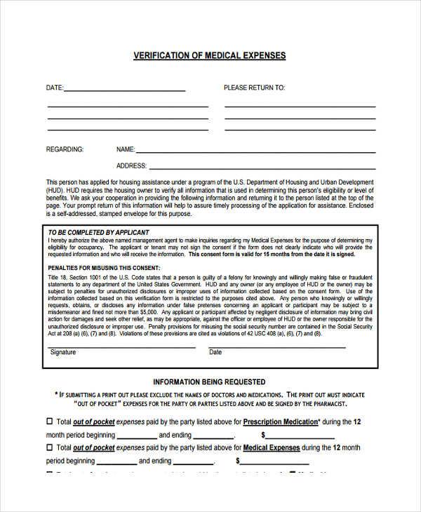 medical expenses verification