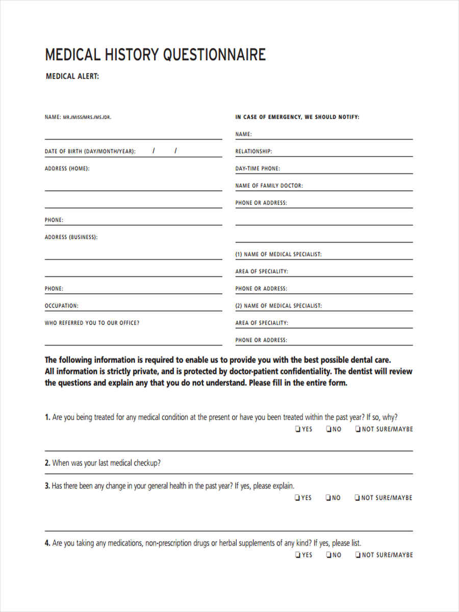 6 medical questionnaire form sample free sample for Health questionnaire form template