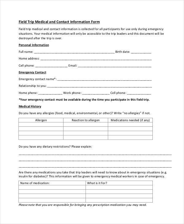 medical information form