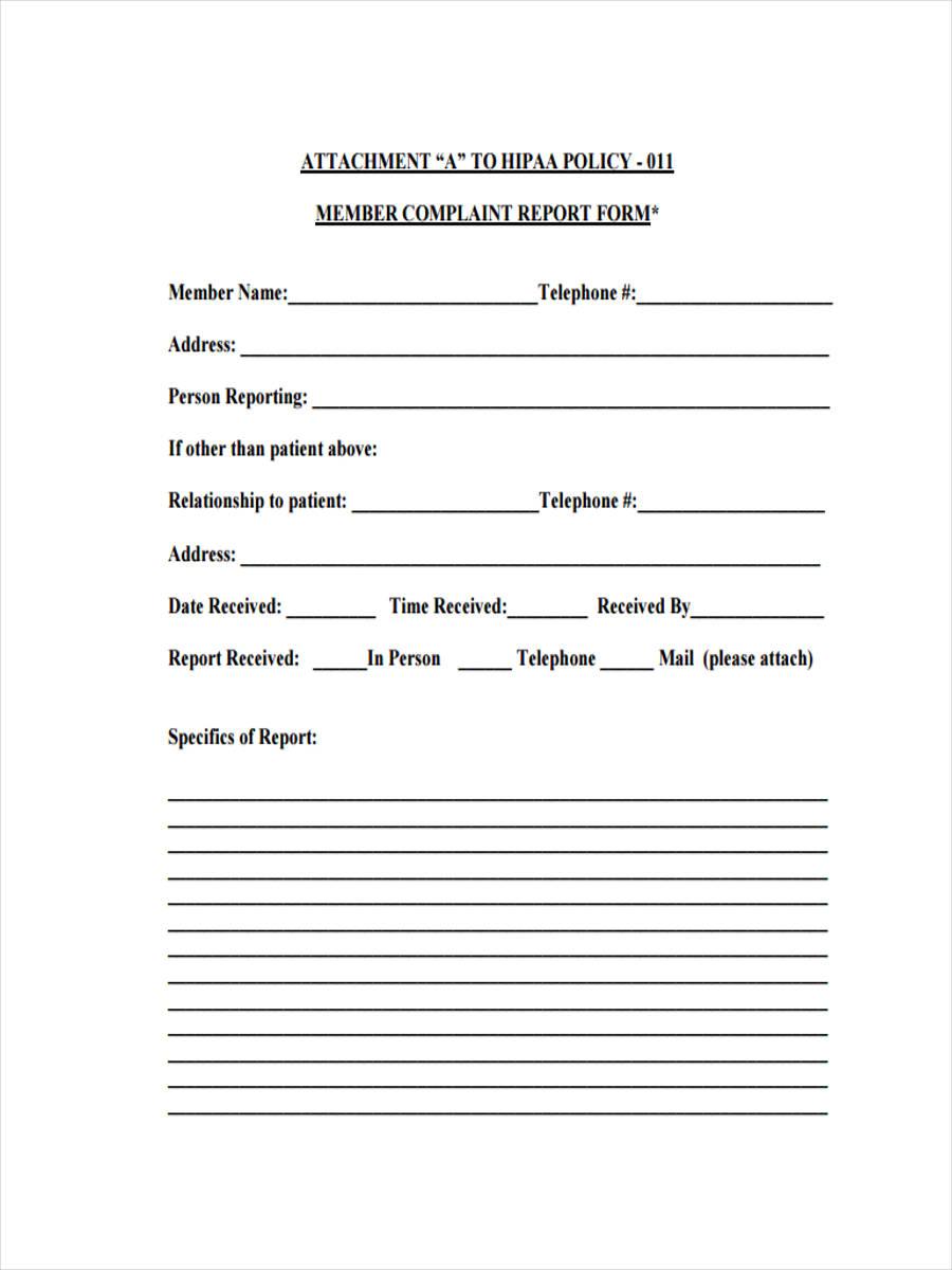 member complaint report