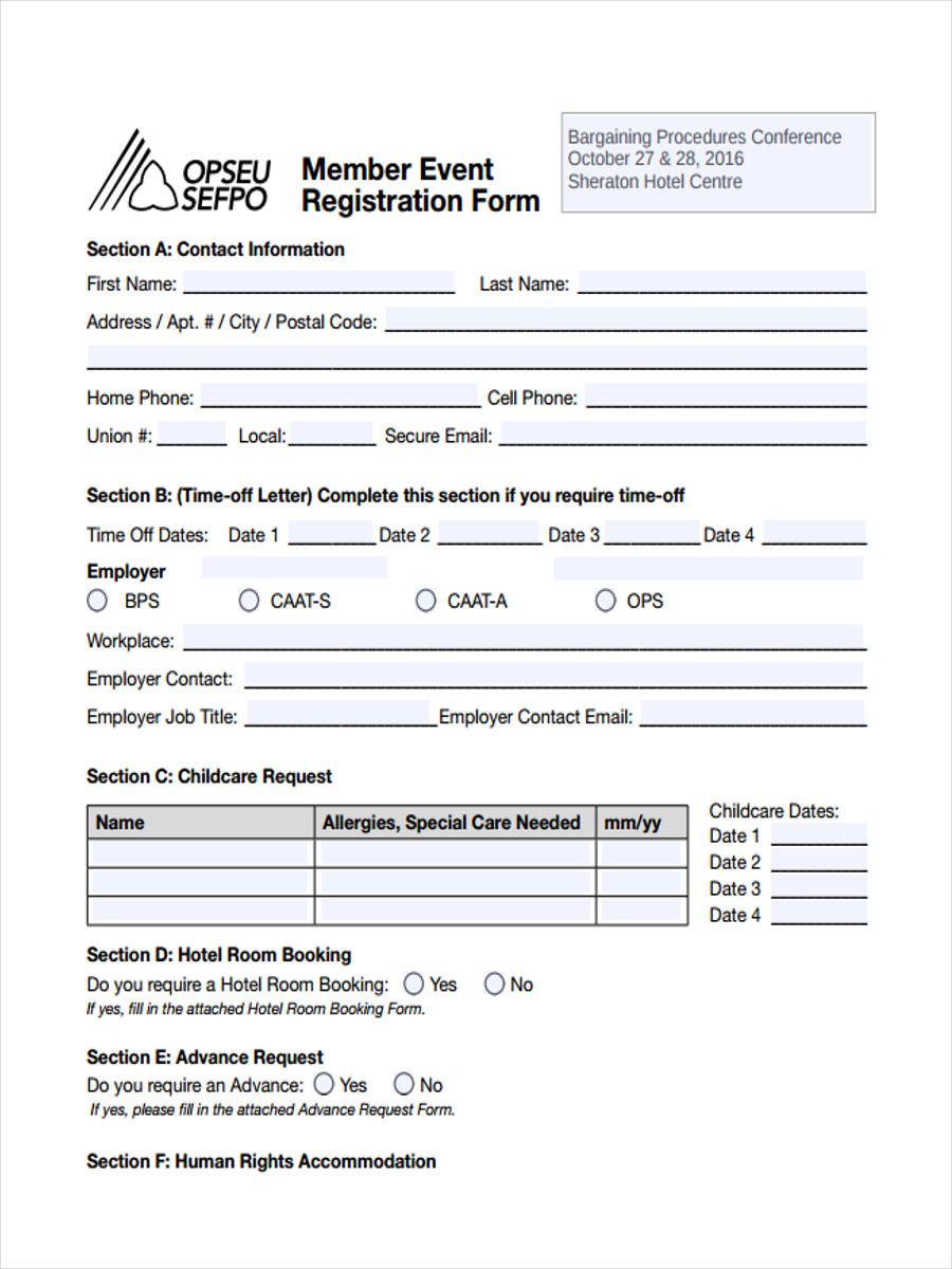 21 hotel registration form templates member event registration altavistaventures Images
