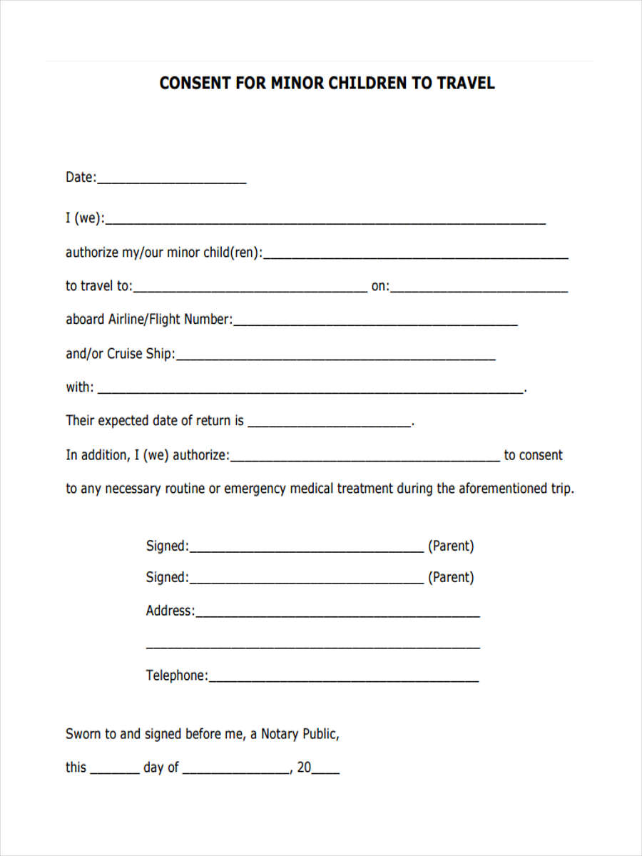 5 child travel consent forms free sample example for Consent form template for children